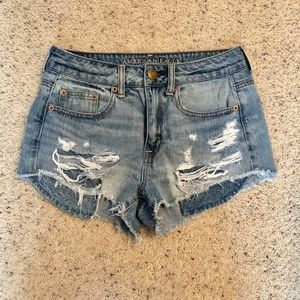 American Eagle high rise ripped jean short